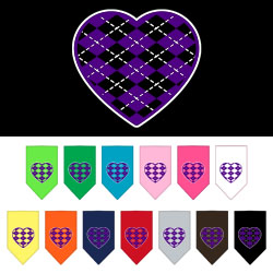 Argyle Heart Purple Screen Print Bandana
