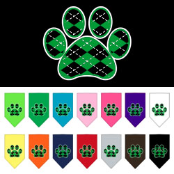 Argyle Paw Green Screen Print Bandana