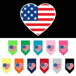 American Flag Heart Screen Print Bandana