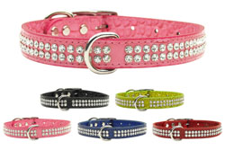 Jewel Croc leather collars with rhinestone crystals, matching leashes, Glitter 4 Your Critter