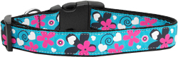 Aqua Love Nylon Ribbon Dog Collars