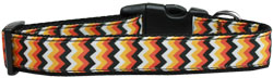 Pumpkin Chevrons Nylon Dog Collar