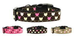 Argyle Hearts Nylon Ribbon Collars