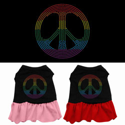 Rainbow Peace Rhinestone Dress