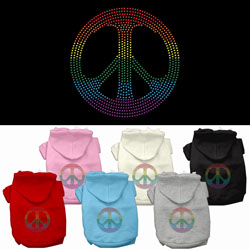 Rainbow Peace Sign Rhinestone Hoodies