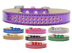 Two Row Bright Pink Crystal Ice Cream Dog Collars