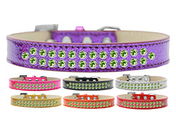 Two Row Lime Green Crystal Ice Cream Dog Collars