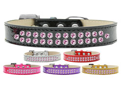 Two Row Light Pink Crystal Ice Cream Dog Collars