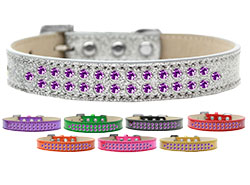 Two Row Purple Crystal Ice Cream Dog Collars