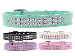 Two Row Light Pink Crystal Dog Collars