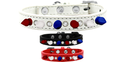 Crystal with Red, White and Blue Spikes Dog Collar