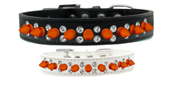 Double Crystal and Neon Orange Spikes Dog Collar