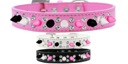 Double Crystal with Black, White and Bright Pink Spikes Dog Collar
