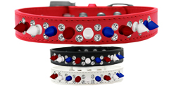 Double Crystal with Red, White and Blue Spikes Dog Collar