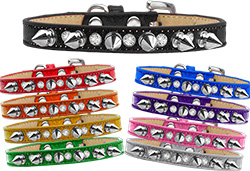 Crystal and Silver Spikes Dog Collar