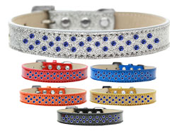 Sprinkles Ice Cream Dog Collar Blue Crystals