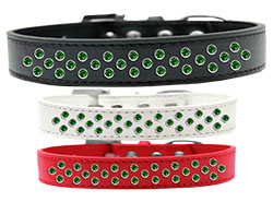 Sprinkles Dog Collar Emerald Green Crystals