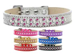 Sprinkles Ice Cream Dog Collar Pearl and Bright Pink Crystals