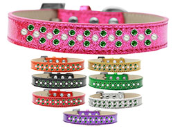 Sprinkles Ice Cream Dog Collar Pearl and Emerald Green Crystals