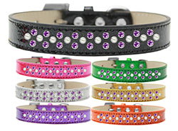 Sprinkles Ice Cream Dog Collar Pearl and Purple Crystals