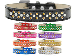 Sprinkles Ice Cream Dog Collar Pearl and Yellow Crystals