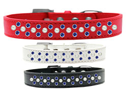 Sprinkles Dog Collar Pearl and Blue Crystals