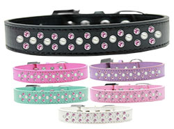 Sprinkles Dog Collar Pearl and Light Pink Crystals