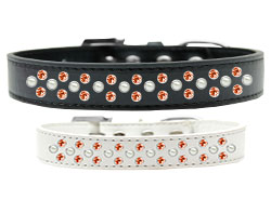 Sprinkles Dog Collar Pearl and Orange Crystals