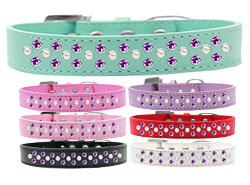 Sprinkles Dog Collar Pearl and Purple Crystals