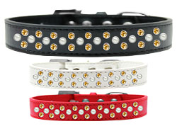 Sprinkles Dog Collar Pearl and Yellow Crystals