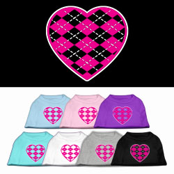 Argyle Heart Pink Screen Print Pet Shirt