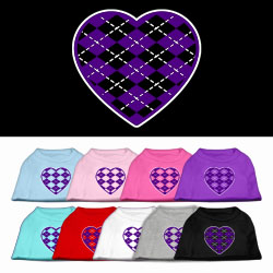 Argyle Heart Purple Screen Print Pet Shirt