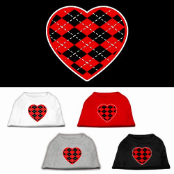 Argyle Heart Red Screen Print Pet Shirt