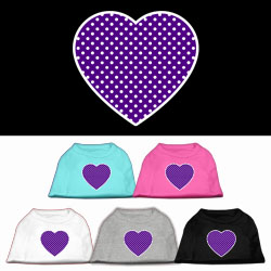 Purple Swiss Dot Heart Screen Print Pet Shirt
