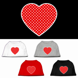 Red Swiss Dot Heart Screen Print Pet Shirt