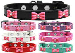 Pink Glitter Bow Widget Dog Collars