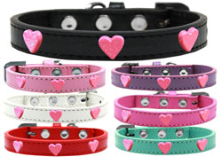 Pink Glitter Heart Widget Dog Collars