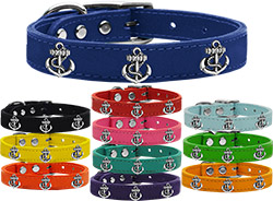Silver Anchor Widget Genuine Leather Dog Collar