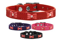 Red Glitter Bow Widget Genuine Leather Dog Collars