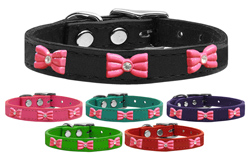 Pink Glitter Bow Widget Genuine Leather Dog Collars