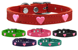 Pink Glitter Heart Widget Genuine Leather Dog Collars