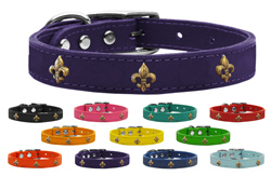 Bronze Fleur De Lis Widget Genuine Leather Dog Collars