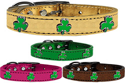 Shamrock Widget Genuine Metallic Leather Dog Collar