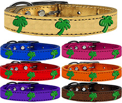 Green Palm Tree Widget Genuine Metallic Leather Dog Collar
