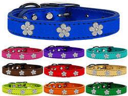 Silver Flower Widget Metallic Leather Collar