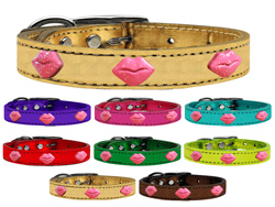 Pink Glitter Lips Widget Genuine Metallic Leather Dog Collars