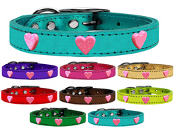 Pink Glitter Heart Widget Genuine Metallic Leather Dog Collars