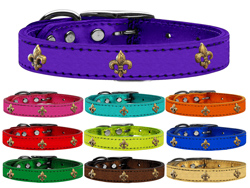 Bronze Fleur De Lis Widget Genuine Metallic Leather Dog Collars