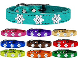 Snowflake Widget Genuine Metallic Leather Dog Collar