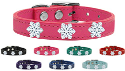 Snowflake Widget Genuine Leather Dog Collar